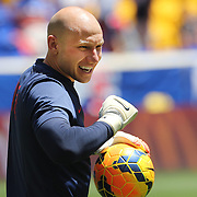 Goalkeeper Brad Guzan during warm up before the US Men's National Team Vs Turkey friendly match at Red Bull Arena.  The game was part of the USA teams three-game send-off series in preparation for the 2014 FIFA World Cup in Brazil. Red Bull Arena, Harrison, New Jersey. USA. 1st June 2014. Photo Tim Clayton