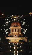 Israel, Haifa,  Bhai temple at night, November 2008.