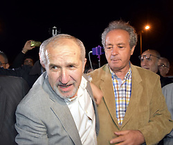 Cumhuriyet Newspaper chairman Akin Atalay (L) reacts after being released from Silivri prison, in Silivri, outside of Istanbul, Turkey on April 26, 2018. - A Turkish court on April 25 convicted journalists from the opposition Cumhuriyet Daily newspaper for helping outlawed 'terrorist' organisations, but editors remained defiant vowing their 'honourable' journalism would not stop. Cumhuriyet -- which means simply 'Republic' -- was set up in 1924 after the Turkish republic was founded in 1923. Photo by Mehmet Yirun/DHA/Depo Photos/ABACAPRESS.COM