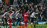 Photo: Andrew Unwin.<br /> <br /> Newcastle United v Middlesbrough. The Barclays Premiership. 02/01/2006.<br /> <br /> Newcastle's Nolberto Solano (R) leads the celebrations after scoring his team's first goal.