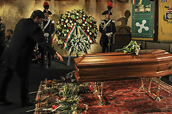 October 14, 2016 - Milan, Italy - Minister Dario Franceschini to Pay Respect  on Dario Fo coffin.Dario Fo, the Italian playwright, director and performer whose satirical work earned him both praise and condemnation, as well as the 1997 Nobel Prize in Literature, died on Thursday in Milan. His death was confirmed by his Italian publisher, Chiarelettere. (Credit Image: © Gaetano Piazolla/Pacific Press via ZUMA Wire)