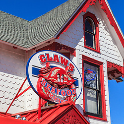 Rehoboth Beach, DE, USA - March 11, 2012: The Claws Seafood Restauarnt Sign in Rehoboth Beach, Delaware