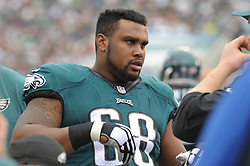 Josh Andrews #68 of the Philadelphia Eagles  during the game against the Bills on Dec. 13, 2015 at Lincoln Financial Field in Phila. PA (Photo by Ed Mahan)