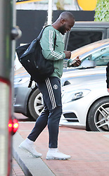 The Manchester United team arrive at The Lowry Hotel on Saturday evening to prepare for their home game against West Brom on Sunday afternoon. Seen: Romelu Lukaklu.