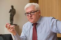 15 JAN 2013, BERLIN/GERMANY:<br /> Frank-Walter Steinmeier, SPD Fraktionsvorsitzender, waehrend einem Interview, in seinem Buero, Jakob-Kaiser-Haus, Deutscher Budnestag<br /> IMAGE: 20130115-01-020<br /> KEYWORDS: Büro
