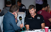 Football - 2019 / 2020 Gallagher Premiership Rugby - New Season Launch Media Photocall<br /> <br /> Exeter Chiefs' Director of Rugby Rob Baxter being interviewed during an open media session, at Twickenham.<br /> <br /> COLORSPORT/ASHLEY WESTERN
