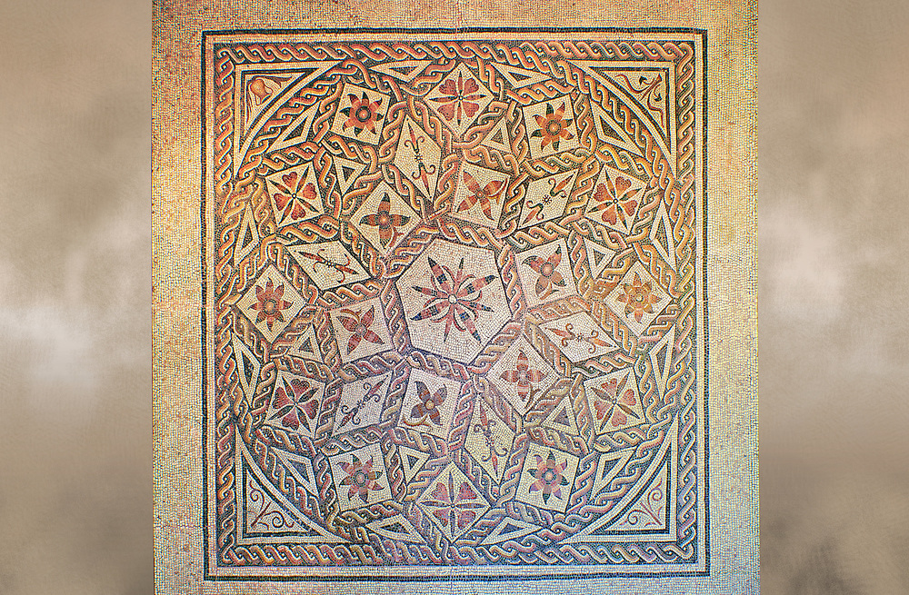 Roman geometric floor mosaic with roses and flowers, from the Pietra Papa area near the Flavian Gate, Rome. 125-150 BC. National Roman Museum, Rome, Italy .<br /> <br /> If you prefer to buy from our ALAMY PHOTO LIBRARY  Collection visit : https://www.alamy.com/portfolio/paul-williams-funkystock/national-roman-museum-rome-mosaic.html <br /> <br /> Visit our ROMAN ART & HISTORIC SITES PHOTO COLLECTIONS for more photos to download or buy as wall art prints https://funkystock.photoshelter.com/gallery-collection/The-Romans-Art-Artefacts-Antiquities-Historic-Sites-Pictures-Images/C0000r2uLJJo9_s0