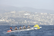 San Remo, ITALY,  Qualification Races, men's quadruple sculls M4X+,  rowing on the open sea.  2008 FISA Coastal World Championships. Friday 17/10/2008. [Photo, Peter Spurrier/Intersport-images] Coastal Rowing Course: San Remo Beach, San Remo, ITALY