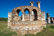 4th Century Byzantine Christian chapel next to the 3rd cent. B.C Temple of Artimis. Sardis archaeological site, Hermus valley, Turkey. .<br /> <br /> If you prefer to buy from our ALAMY PHOTO LIBRARY  Collection visit : https://www.alamy.com/portfolio/paul-williams-funkystock/sardis-archaeological-site-turkey.html<br /> <br /> Visit our CLASSICAL WORLD HISTORIC SITES PHOTO COLLECTIONS for more photos to download or buy as wall art prints https://funkystock.photoshelter.com/gallery-collection/Classical-Era-Historic-Sites-Archaeological-Sites-Pictures-Images/C0000g4bSGiDL9rw