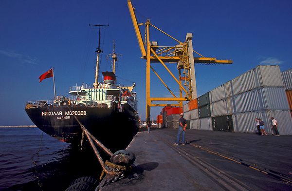 Container tanker being loaded at the Port of Houston