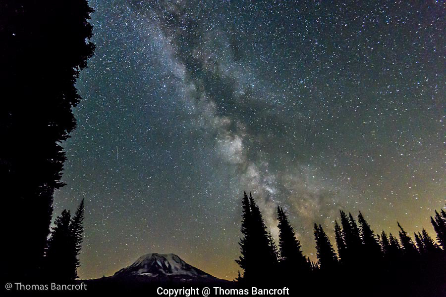 The Milky Way twinkles above Muddy Meadows and  Mt Adams.