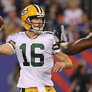 Packers quarterback Scott Tolzien, in action during the New York Giants Vs Green Bay Packers, NFL American Football match at MetLife Stadium, East Rutherford, New Jersey, USA. 17th November 2013. Photo Tim Clayton