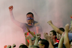 Fan of NK Maribor during football match between NK Olimpija and NK Maribor in 5th Round of Prva liga NZS 2012/13, on August 11, 2012 in SRC Stozice, Slovenia. (Photo by Urban Urbanc / Sportida.com)