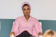 Koningin Maxima bij The Hague Institute for Global Justice met Hare Hoogheid Sheikha Moza bint Nasser uit Qatar, oprichter van de stichting Education Above All en pleitbezorger van de VN ontwikkelingsdoelen. Zij wonen hier het seminar Law, Education and the SDGÕs over bescherming onderwijs in conflictsituaties bij.<br /> <br /> Queen Maxima at The Hague Institute for Global Justice with Her Highness Sheikha Moza binds Nasser from Qatar, founder of the Education Above All Foundation and advocate of UN development goals. They attend the Law, Education and the SDGÕ seminar on protection of education in conflict.<br /> <br /> Op de foto / On the photo:  Sheikha Moza bint Nasser