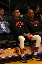November 14, 2018 - Los Angeles, CA, U.S. - LOS ANGELES, CA - NOVEMBER 14: Portland Trail Blazers Guard Anfernee Simons (24) watching warm-ups before the Portland Trail Blazers versus the Los Angles Lakers game on November 14, 2018, at Staples Center in Los Angeles, CA. (Photo by Icon Sportswire) (Credit Image: © Jevone Moore/Icon SMI via ZUMA Press)