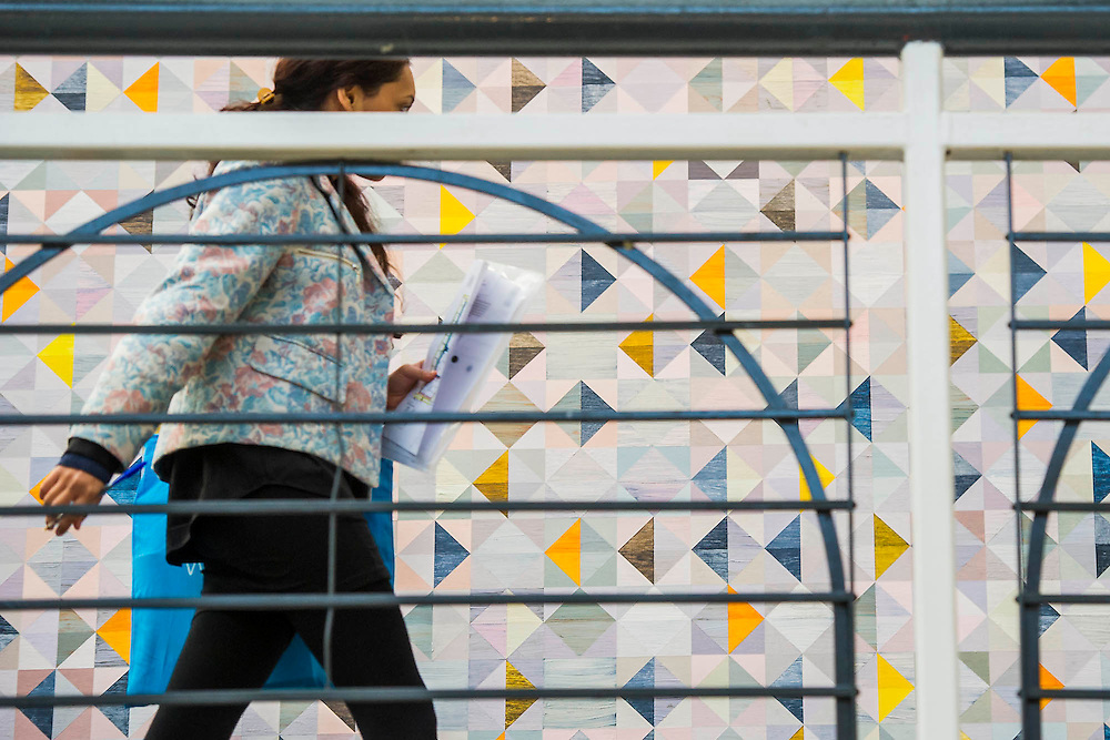 Art lines the walkways of teh upper galleries. London Art Fair opens at the Business Design Centre, Islington, London.