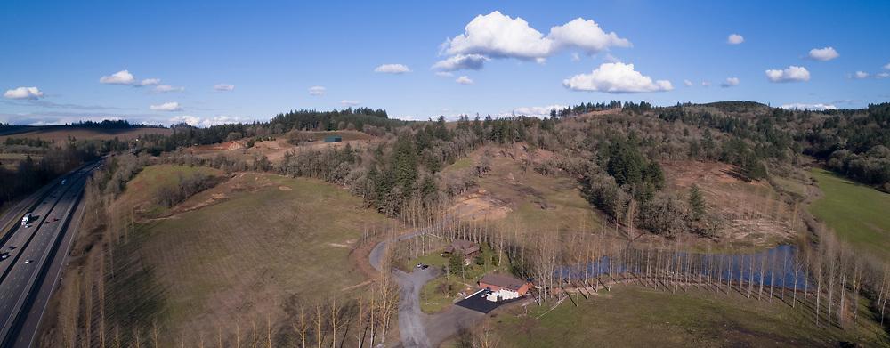 Aerial view of new  vineyard & winery site, Willamette Valley, Oregon