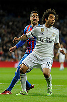 Real Madrid´s Marcelo Vieira and Levante UD´s  during 2014-15 La Liga match between Real Madrid and Levante UD at Santiago Bernabeu stadium in Madrid, Spain. March 15, 2015. (ALTERPHOTOS/Luis Fernandez)