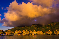 Overwater bungalows, Hilton Moorea Lagoon Resort, island of Moorea, Society Islands, French Polynesia.
