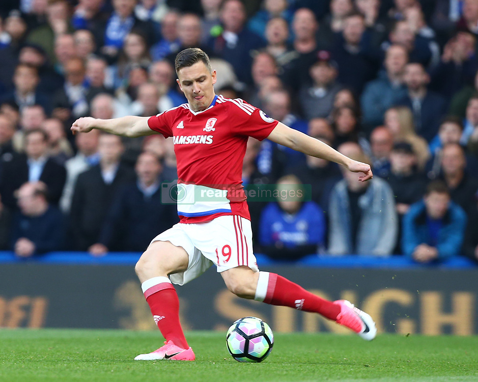 May 8, 2017 - London, England, United Kingdom - Stewart Downing of Middlesbrough during Premier League match between Chelsea and Middlesbrough at Stamford Bridge, London, England on 08 May 2017. (Credit Image: © Kieran Galvin/NurPhoto via ZUMA Press)