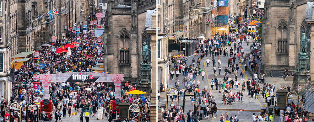 Edinburgh, Scotland, UK. 8th August  2021. On a sunny Sunday afternoon the Royal Mile was busy with visitors looking for the limited street entertainment provided during the much scaled back Edinburgh Fringe Festival this year. Two stages are provided for performers and these proved popular throughout the day. Pic; Montage showing contrasting crowds on Royal Mile on first weekend of Fringe in 2018 (left) and in 2021. Iain Masterton/Alamy Live news.