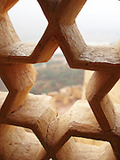 Star-shaped stone window screen at the Amber Palace, Amer, Rajasthan.