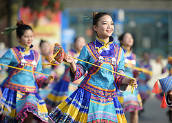 April 18, 2018 - Performers dance during a celebration of ''Sanyuesan'' festival in Wangmo County of southwest China's Guizhou Province. People held various events to celebrate the Sanyuesan Festival on the third day of the third lunar month.  lb) (Credit Image: © Deng Gang/Xinhua via ZUMA Wire)