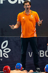Coach Harry van der Meer of the Netherlands in action against Croatia during the Olympic qualifying tournament. The Dutch water polo players are on the hunt for a starting ticket for the Olympic Games on February 15, 2021 in Rotterdam