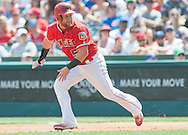 Kole Calhoun runs the bases during the Angels' preseason game against the Chicago Cubs at Angel Stadium Sunday.<br /> <br /> <br /> ///ADDITIONAL INFO:   <br /> <br /> angels.0404.kjs  ---  Photo by KEVIN SULLIVAN / Orange County Register  --  4/3/16<br /> <br /> The Los Angeles Angels take on the Chicago Cubs at Angel Stadium during a preseason game at Angel Stadium Sunday.<br /> <br /> <br />  4/3/16