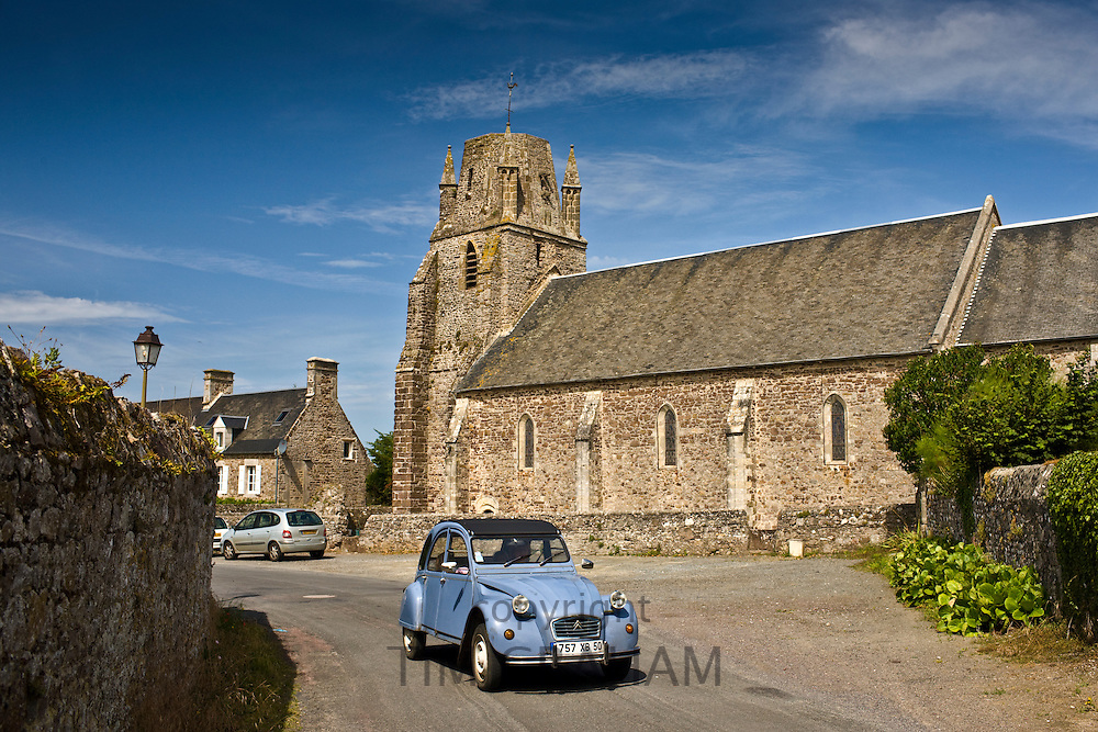 Typical French Citroen Deux Chevaux 2CV car at Regneville-Sur-Mer, Normandy, France