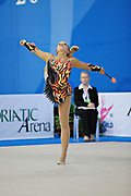 Holte Emilie during qualifying at clubs in Pesaro World Cup at the Adriatic Arena on April 27, 2013. Emilie is a Norwegian individual gymnast born July 31, 1996 in Oslo, Norway.