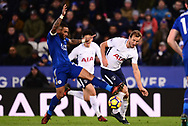 Danny Simpson of Leicester city tackles Harry Kane of Tottenham Hotspur. .Premier league match, Leicester City v Tottenham Hotspur at the King Power Stadium in Leicester, Leicestershire on Tuesday 28th November 2017.<br /> pic by Bradley Collyer, Andrew Orchard sports photography.