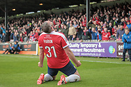 Jon Parkin (York City) turns and roars as he scores his side's first goal of the game to level the scores. 1-1 during the Vanarama National League match between York City and Forest Green Rovers at Bootham Crescent, York, England on 29 April 2017. Photo by Mark PDoherty.