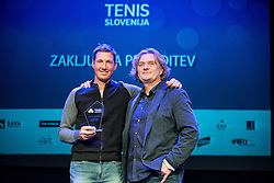 Robi Cokan and Roman Jeras at Slovenian Tennis personality of the year 2016 annual awards presented by Slovene Tennis Association Tenis Slovenija, on December 7, 2016 in Siti Teater, Ljubljana, Slovenia. Photo by Vid Ponikvar / Sportida