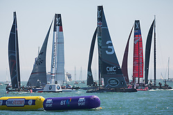 July 23, 2016 - Portsmouth, Hampshire, United Kingdom - Portsmouth, United Kingdom.  America's Cup teams competing in the first day of racing for the America's Cup World Series (ACWS) in Portsmouth this weekend, 22nd-24th July 2016. British Olympic sailing legend, Sir Ben Ainslie, is leading his all-British team, Land Rover BAR, against other teams in a battle to qualify for a place in the two team America's Cup final, to be held in Bermuda in 2017. (Credit Image: © Rob Arnold/London News Pictures via ZUMA Wire)