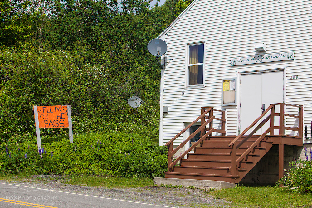 A homemade sign opposing Northern Pass next to the Clarksville, New Hampshire town offices.