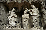 16th century flamboyant gothic Choir screen and ambulatory of the Cathedral of Chartres, France. A UNESCO World Heritage Site. Depicting Christ being baptised by John The Baptist. .<br /> <br /> Visit our MEDIEVAL ART PHOTO COLLECTIONS for more   photos  to download or buy as prints https://funkystock.photoshelter.com/gallery-collection/Medieval-Middle-Ages-Art-Artefacts-Antiquities-Pictures-Images-of/C0000YpKXiAHnG2k