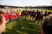 Photo: Steve Bond.<br />Scunthorpe United v Carlisle United. Coca Cola League 1. 05/05/2007. Nigel Adkins congratulates his players in a circle