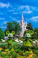 Mickey and Minnie Mouse topiaries, Magic Kingdom, Walt Disney World, Orlando, Florida USA
