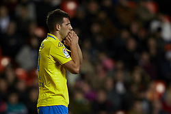 January 9, 2018 - Valencia, Valencia, Spain - Calleri of UD Las Palmas reacts after missing a chance during the Copa del Rey Round of 16, second leg game between Valencia CF and Las Palmas at Mestalla on January 9, 2018 in Valencia, Spain  (Credit Image: © David Aliaga/NurPhoto via ZUMA Press)