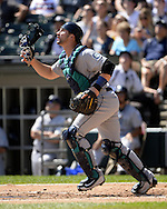 CHICAGO - AUGUST 28:  Mike Zunio #3 of the Seattle Mariners catches against the Chicago White Sox on August  28, 2016 at U.S. Cellular Field in Chicago, Illinois.  The White Sox defeated the Mariners 4-1.  (Photo by Ron Vesely/MLB Photos via Getty Images)  *** Local Caption *** Mike Zunio