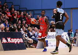 Jalan McCloud of Bristol Flyers in possession - Photo mandatory by-line: Arron Gent/JMP - 28/04/2019 - BASKETBALL - Surrey Sports Park - Guildford, England - Surrey Scorchers v Bristol Flyers - British Basketball League Championship
