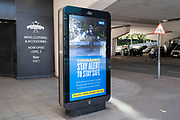 HM Government, and NHS advertising boards advice to stay alert and help save lives in Birmingham city centre which has very few people around due to the Coronavirus outbreak on 20th May 2020 in Birmingham, England, United Kingdom. Coronavirus or Covid-19 is a new respiratory illness that has not previously been seen in humans. While much or Europe has been placed into lockdown, the UK government has put in place more stringent rules as part of their long term strategy, and in particular social distancing.