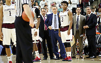 Texas A&M head coach Billy Kennedy awaits a call from a referee against South Carolina during the second half of an NCAA college basketball game, Saturday, Feb. 6, 2016, in College Station, Texas. South Carolina won 81-78. (AP Photo/Sam Craft)