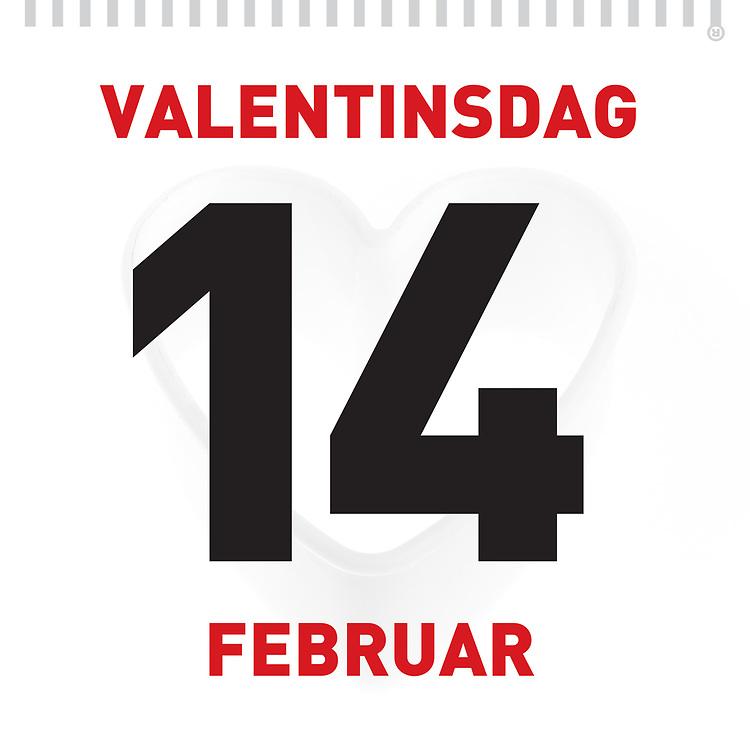 Valentinsdag, 14. februar, på kalenderen. Subtilt skyggehjerte bak datoen. Grafikk som er spesielt egnet for butikker som ønsker å gi kundene en påminnelse opp mot kjærlighetens dag. Utmerket til bruk i både til print og i sosiale medier.