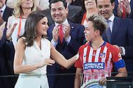 Queen Letizia of Spain delivery the second prize to Amanda (Atletico de Madrid) after winning Spanish Queen's Cup (Copa de la Reina) final match Real Sociedad vs At. de Madrid at Los Nuevos Carmenes Stadium on May 12, 2019 in Granada, Spain