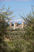 A view of Monteriggioni, a small medieval, hill top town in the landscape of Tuscany, Italy