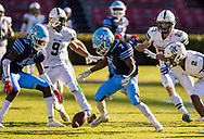 Dorman Cavaliers wide receiver Kendall Norman (7) fumbles against the Dutch Fork Silver Foxes in the Class AAAAA State Championship Game at Williams-Brice Stadium in Columbia, SC. Dutch Fork wins their 4th straight state championship at Williams Brice Stadium. Photos ©JeffBlakePhoto.com