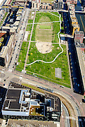 Nederland, Noord-Holland, Amsterdam, 20-04-2015; Theo van Goghpark en Pampuslaan. IJburg, the new urban development district of Amsterdam, with its main park.<br /> luchtfoto (toeslag op standard tarieven);<br /> aerial photo (additional fee required);<br /> copyright foto/photo Siebe Swart