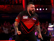 Michael  Smith during the PDC BetVictor World Matchplay Darts 2021 tournament at Winter Gardens, Blackpool, United Kingdom on 21 July 2021.